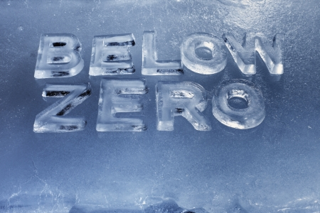 Words Below Zero written with real ice letters. Stock Photo - 14709728