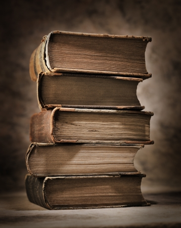 A Stack of old antique books. Stock Photo