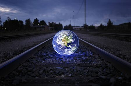 railway track: Glowing earth on an old railroad track.