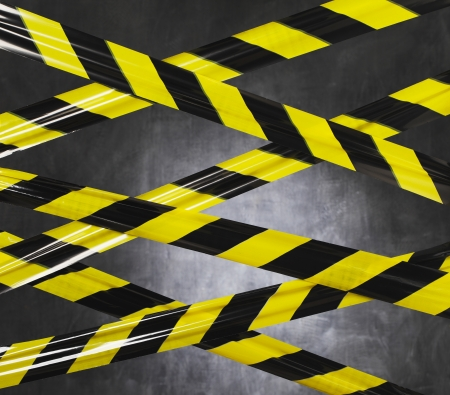 cordoned: Black and yellow plastic barrier tape blocking the way.