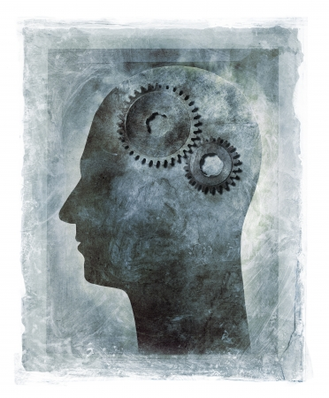 Grunge illustration of a human head with cog gears as the brain.