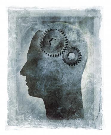 psicologia: Grunge ilustración de una cabeza humana con engranajes de diente como el cerebro.