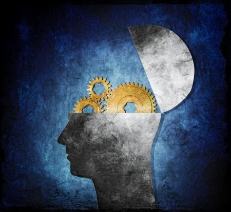 psicologia: Raster ilustraci�n collage de una cabeza abierta con los engranajes del diente.