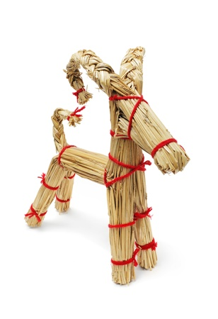 billy: Traditional Finnish christmas decoration straw billy goat made of straws and red yarn.