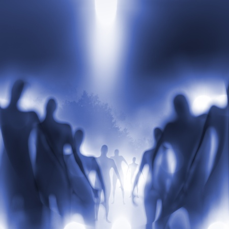 Grainy and blurry image of human-like beings approaching. Stock Photo