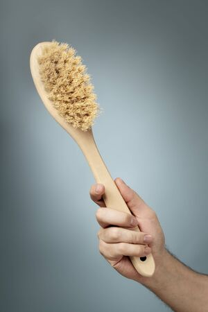 bristle: Bath brush made of wood and natural fibers. Stock Photo
