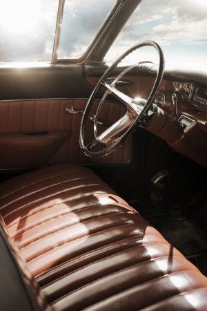 Interior of a 1950s vintage classic car. photo
