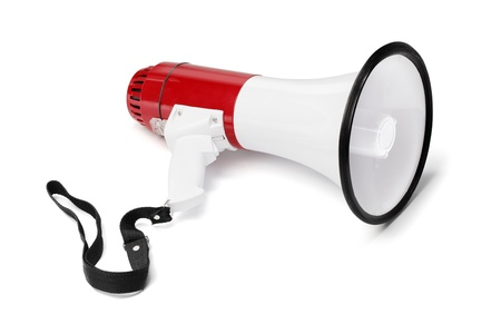 audible: Red and white megaphone isolated on white with natural shadows.
