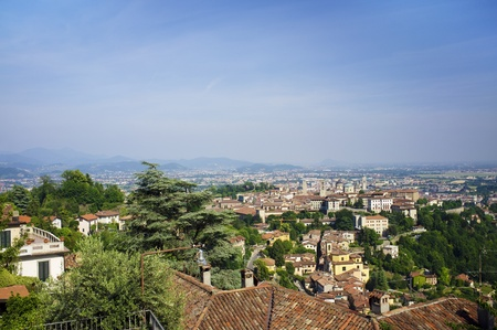 A View over Bergamo as seen from the hills of Citta Alta (upper town). Lomberdy, Italy. Stock Photo - 17032711