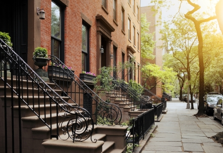 residential street: A View from idyllic Brooklyn Heights, Brooklyn, New York City, USA. Short depth of field.