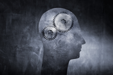 Conceptual image of a head with cog gears as brain. Stock Photo - 17032719