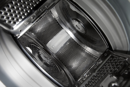 washing machine: Interior view of a new european top loading washing machine. Stock Photo