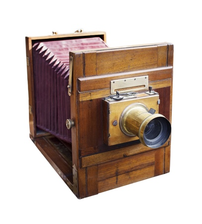bellows: Antique 19th century wooden large format camera with bellows isolated on white.