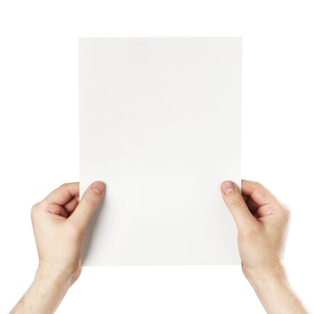 Man holding a blank light grey paper against white background. Stock Photo - 18724854