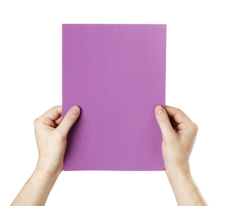 Man holding a blank purple paper against white background. Stock Photo - 18724868