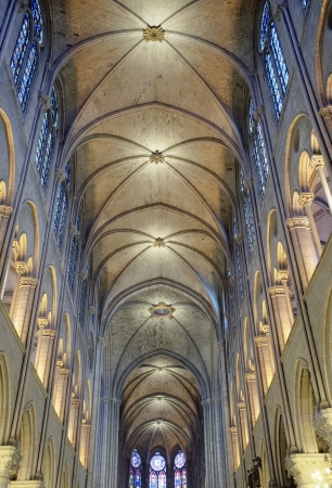 Interior view of Notre Dame Cathedral, Paris, France.