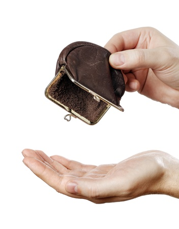 spent: Man holding an empty change coin purse. Stock Photo