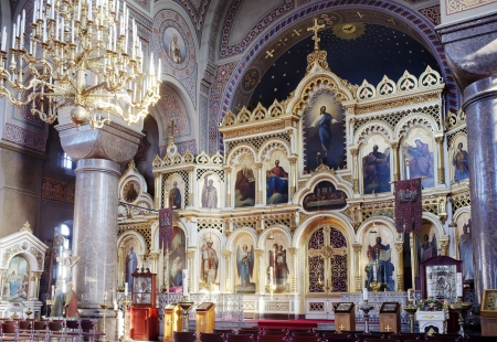 iconostasis: HELSINKI - March 7: Iconostasis of Uspenski Cathedral, an Eastern Orthodox cathedral dedicated to the Dormition of the Theotokos (the Virgin Mary). March 7, 2013 in Helsinki, Finland Editorial