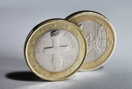 kibris: Two 1 Euro coins from Cyprus. Stock Photo