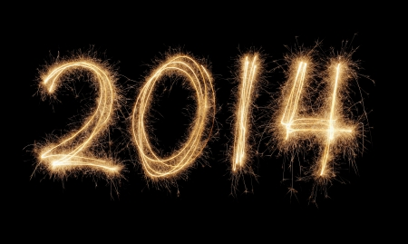 Number 2014 written with a sparkler. Stock Photo - 21928217