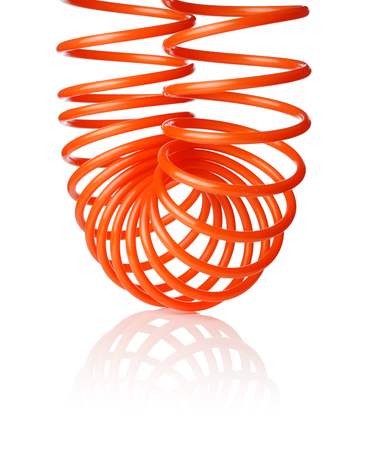 compressed air hose: Orange red thin spiral air hose used for pneumatic tools, isolated on white with natural shadow.