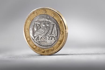 greek coins: Greek 1 Euro Coin on grey background.