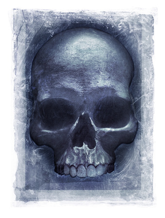 photomanipulation: Grainy and gritty photomanipulation of a human skull Stock Photo