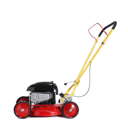 lawn mower: Red new retro-styled lawn mower isolated on white with natural shadow.