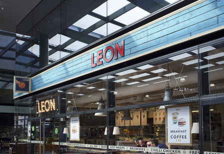 sourced: LONDON, UK – APRIL 15, 2014: Leon is a restaurant group, based in London, specialising in seasonal, locally sourced fast-food. Editorial