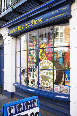 memorabilia: LONDON, UK – APRIL 15, 2014: London Beatles Store located on Baker Street, selling products and memorabilia related to The Beatles.