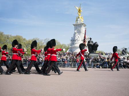 buckingham palace: LONDON, UK – APRIL 16, 2014: Changing the Guard at Buckingham Palace in London