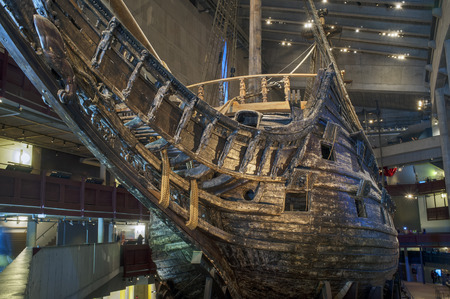 intact: STOCKHOLM, SWEDEN - MAY 17, 2014: The Vasa Museum displays the only almost fully intact 17th century ship that has ever been salvaged, the 64-gun warship Vasa that sank on her maiden voyage in 1628.