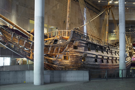 17th century: STOCKHOLM, SWEDEN - MAY 17, 2014: The Vasa Museum displays the only almost fully intact 17th century ship that has ever been salvaged, the 64-gun warship Vasa that sank on her maiden voyage in 1628.