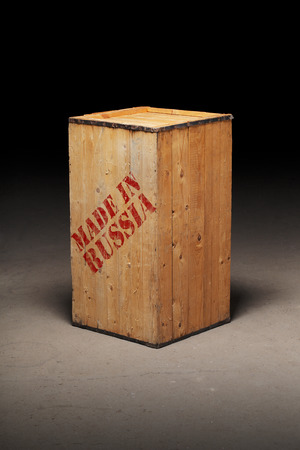 made in russia: Conceptual image of a wooden crate with text Made in Russia Stock Photo
