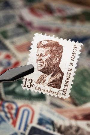 john fitzgerald kennedy: FINLAND - JANUARY 25, 2011: Commemorative U.S. stamp from 1967 depicting president John F. Kennedy. Editorial