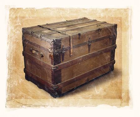 오래 된 기선 트렁크의 낟 알이 고하자면 된 이미지.