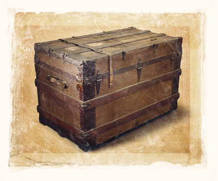 gritty: Grainy and gritty image of an old steamer trunk. Stock Photo