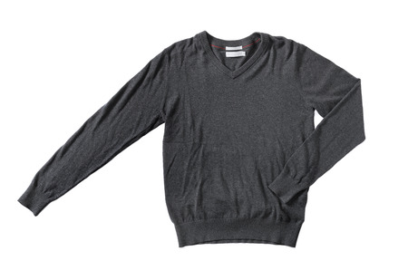 wrinkled: Mens dark grey cotton sweater knitwear isolated on white with natural shadows.