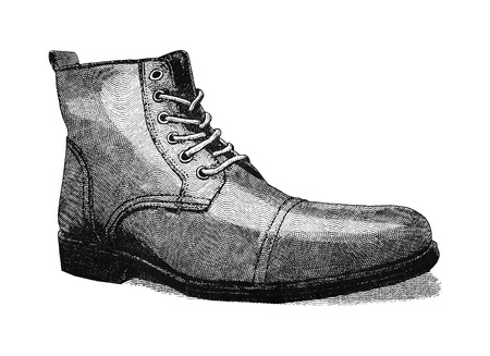 men's shoes: Original digital illustration of a shoe, in style of old engravings.