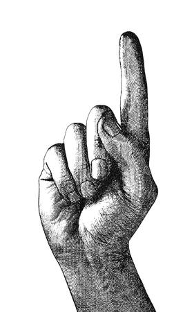 dedo indice: Ilustración digital original de un dedo que apunta, en el estilo de grabados antiguos. Foto de archivo