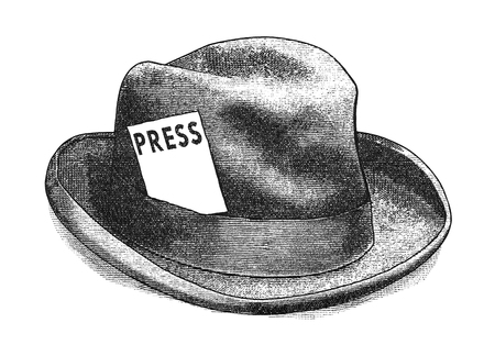 press: Original digital illustration of a fedora hat with press card, in style of old engravings. Stock Photo