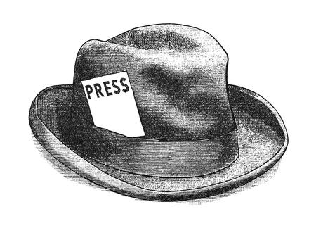 antik: Ursprüngliche digitale Illustration einer Fedora-Hut mit Presseausweis, im Stil von alten Stichen. Lizenzfreie Bilder