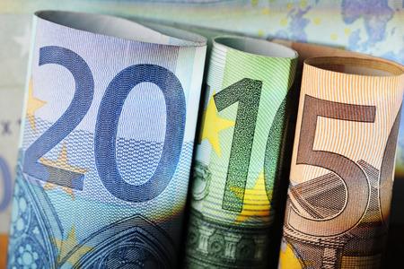 20 euro: Number 2015 made of 20 euro, 100 euro and 50 euro bills.