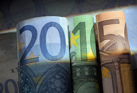 50 number: Number 2015 made of 20 euro, 100 euro and 50 euro bills.