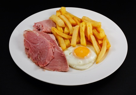 Close up of Ham, egg and chips  A traditional British Cafe Dish Stock Photo - 12681914
