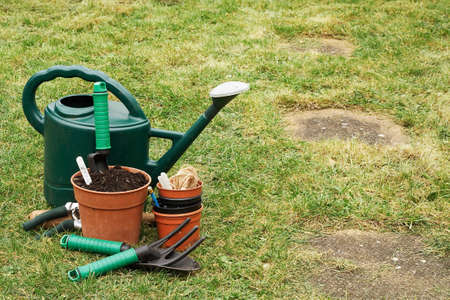 A selection of Garden utensils on the lawn photo