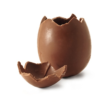 Chocolate easter egg with the top broken off Stock Photo