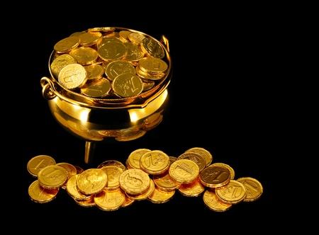pot: Pot of Gold Coins a symbol of The Luck of the Irish or St Patrick Stock Photo