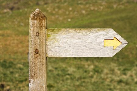 rambling: Old wood signpost with text area or copy space for your own concept message Stock Photo