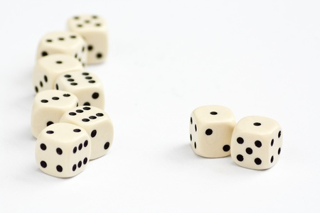 double the chances: White dice frame edge with focus on double one or snake eyes Stock Photo